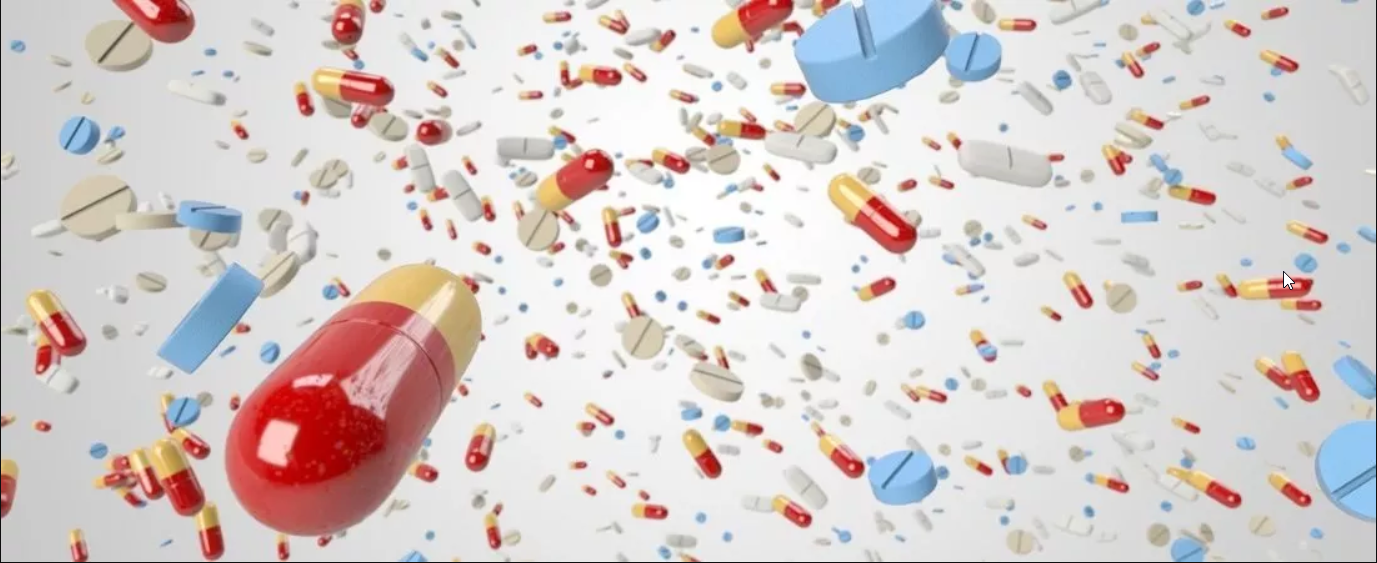 Pillen und Medikamente die herumfliegen
